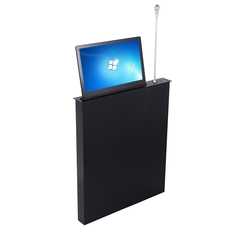 desk motorized lcd monitor lift mechanism with Microphone for Digital Audio Conference System