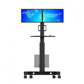 Dual screen ground display movable tv mount with stand