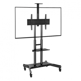 high load bearing double column audio-visual mobile tv stand trolley cart